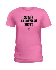 Funny Scary Halloween Shirt Distressed Spider Web  Ladies T-Shirt thumbnail