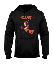 Just A Little Wicked Girl Witch Broomstick Cat Sca Hooded Sweatshirt thumbnail