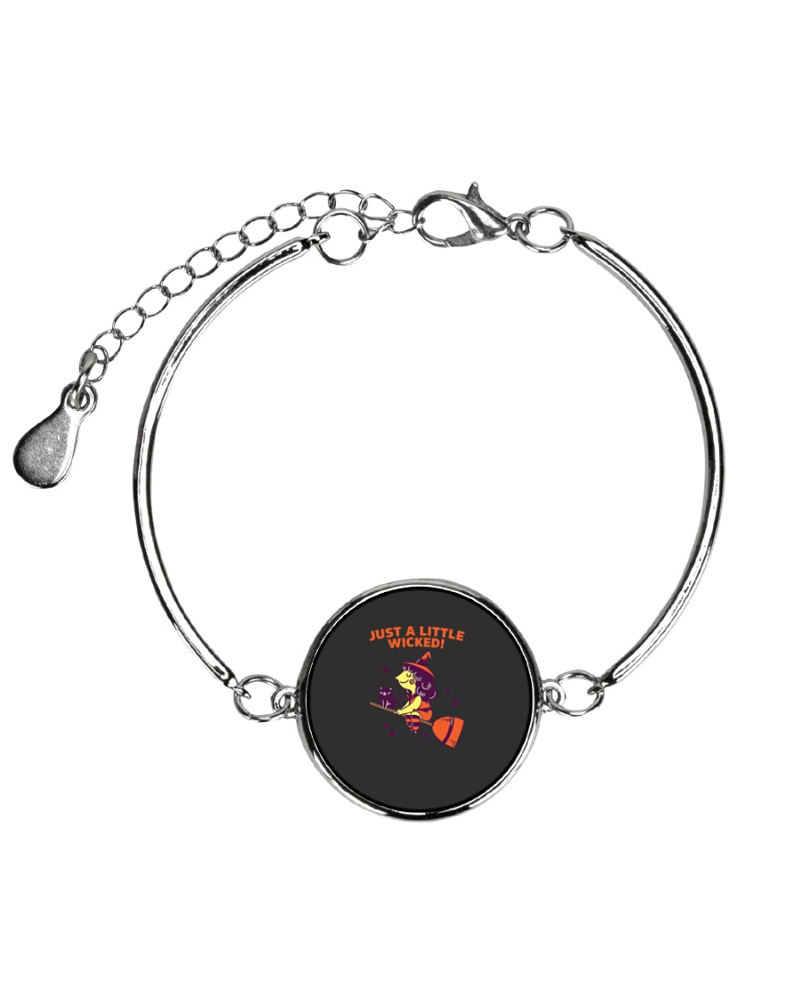 Just A Little Wicked Girl Witch Broomstick Cat Sca Metallic Circle Bracelet