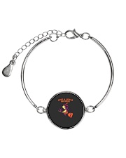 Just A Little Wicked Girl Witch Broomstick Cat Sca Metallic Circle Bracelet front