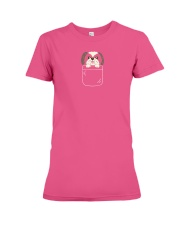 Cute Shih Tzu Puppy in Pocket Dog Lover Gift Premium Fit Ladies Tee thumbnail