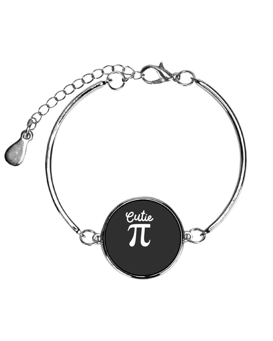 Cutie Pi Symbol Pie  Cute Funny Math Geek Metallic Circle Bracelet