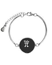 Cutie Pi Symbol Pie  Cute Funny Math Geek Metallic Circle Bracelet front
