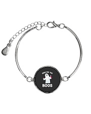 Here For The Boos Funny Ghost Halloween Costume Metallic Circle Bracelet thumbnail