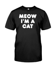 Meow I am A Cat Funny Halloween Lazy Costume Ironi Premium Fit Mens Tee thumbnail