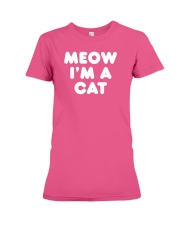 Meow I am A Cat Funny Halloween Lazy Costume Ironi Premium Fit Ladies Tee thumbnail