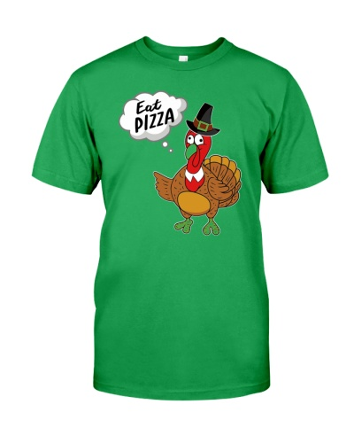 Eat Pizza Funny Turkey Thanksgiving Day Pilgrim