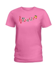 Funny Christmas Treble Clef Music Notes Jingle Bel Ladies T-Shirt thumbnail