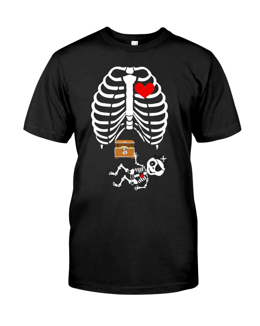 Funny Pirates Baby Skeleton Halloween Pregnancy Classic T-Shirt