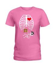 Funny Pirates Baby Skeleton Halloween Pregnancy Ladies T-Shirt thumbnail