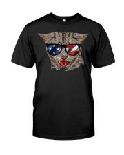 Cat With USA Flag Sunglasses Patriotic American Classic T-Shirt thumbnail