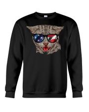 Cat With USA Flag Sunglasses Patriotic American Crewneck Sweatshirt thumbnail
