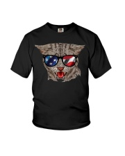 Cat With USA Flag Sunglasses Patriotic American Youth T-Shirt thumbnail
