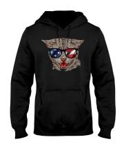 Cat With USA Flag Sunglasses Patriotic American Hooded Sweatshirt thumbnail
