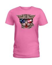 Cat With USA Flag Sunglasses Patriotic American Ladies T-Shirt thumbnail