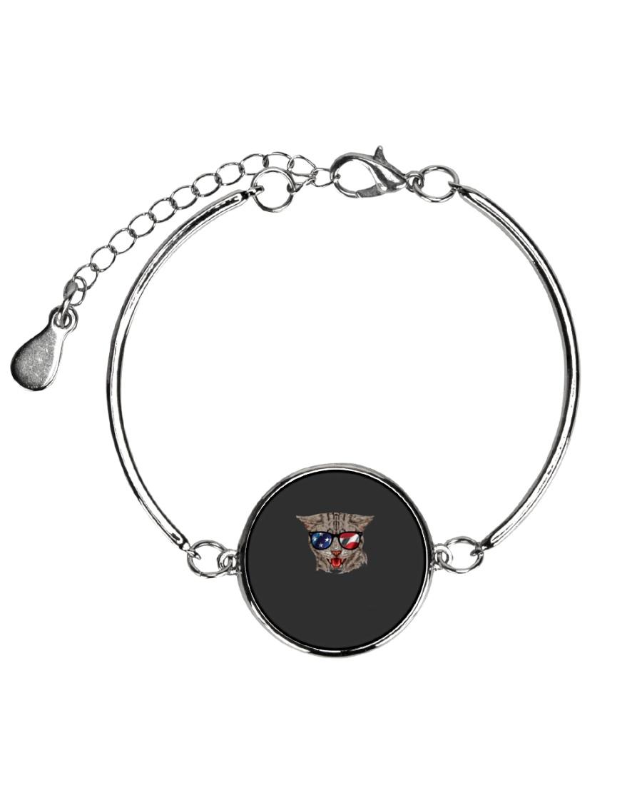Cat With USA Flag Sunglasses Patriotic American Metallic Circle Bracelet