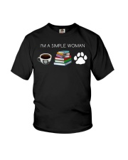 I Am A Simple Woman Coffee Books Dog Lover Girl Youth T-Shirt thumbnail