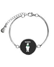 Grandpa Bear Santa Hat Scarf Christmas Pajamas Gif Metallic Circle Bracelet thumbnail