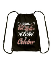 Real Cat Ladies Are Born In October Drawstring Bag thumbnail