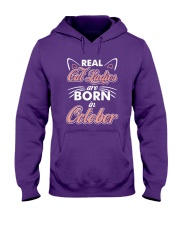 Real Cat Ladies Are Born In October Hooded Sweatshirt thumbnail