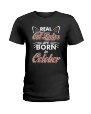Real Cat Ladies Are Born In October Ladies T-Shirt tile