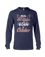 Real Cat Ladies Are Born In October Long Sleeve Tee thumbnail