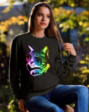 Rainbow Music Cat Crewneck Sweatshirt lifestyle-unisex-sweatshirt-front-6