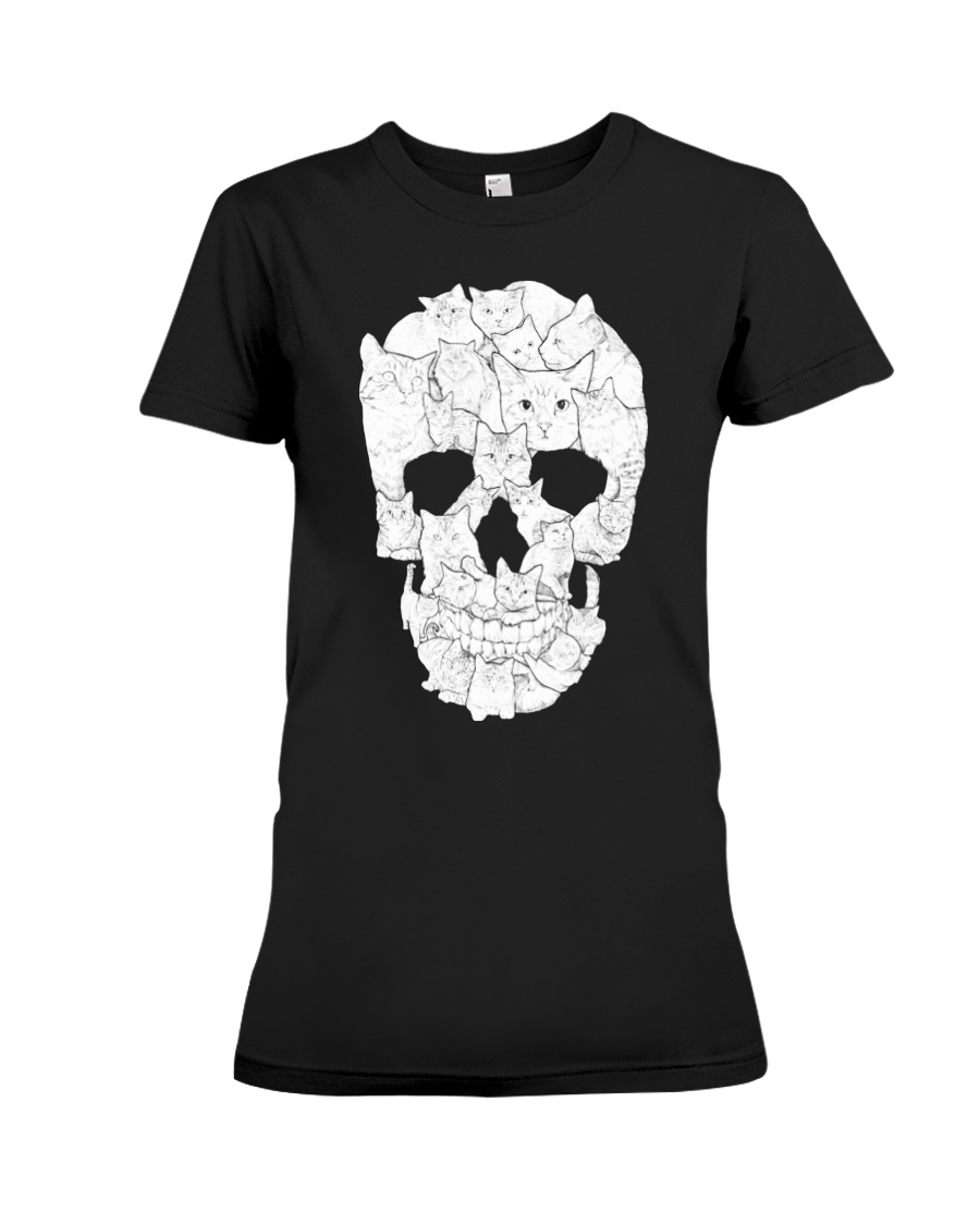 Cat Skull Premium Fit Ladies Tee