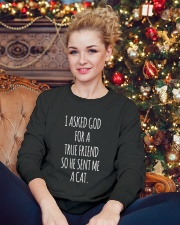Cat Crewneck Sweatshirt lifestyle-holiday-sweater-front-2