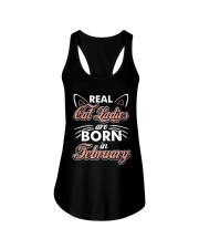 Real Cat Ladies Are Born In February Ladies Flowy Tank thumbnail