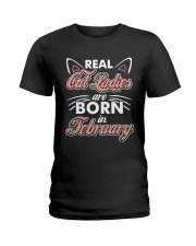 Real Cat Ladies Are Born In February Ladies T-Shirt front