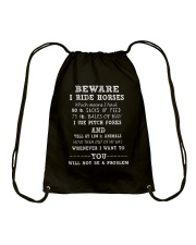 Beware I Ride Horses Drawstring Bag thumbnail