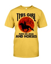 This Girl Runs On Jesus And Horses Classic T-Shirt front