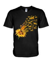 Sunflower And Horses V-Neck T-Shirt thumbnail