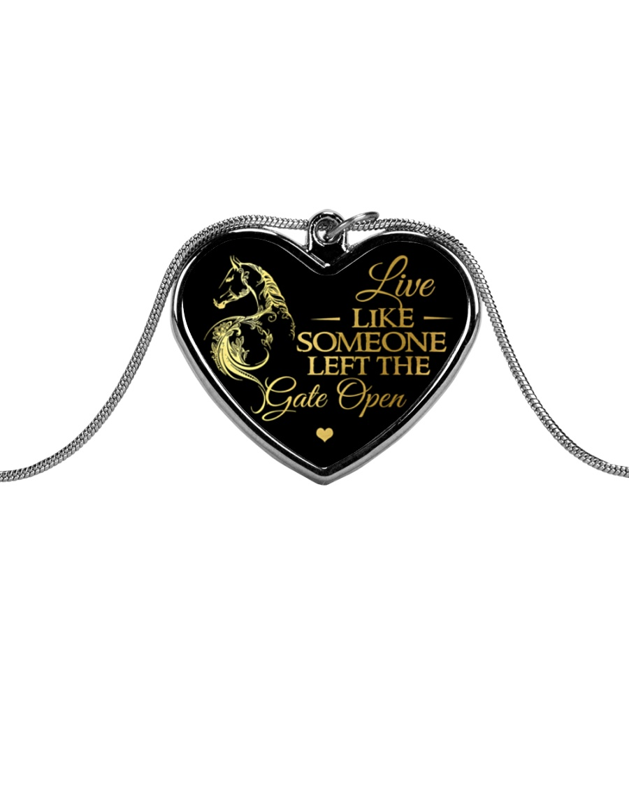 Someone Left The Gate Open Metallic Heart Necklace