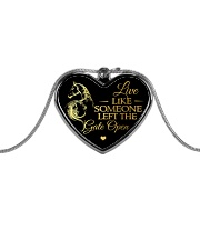 Someone Left The Gate Open Metallic Heart Necklace front