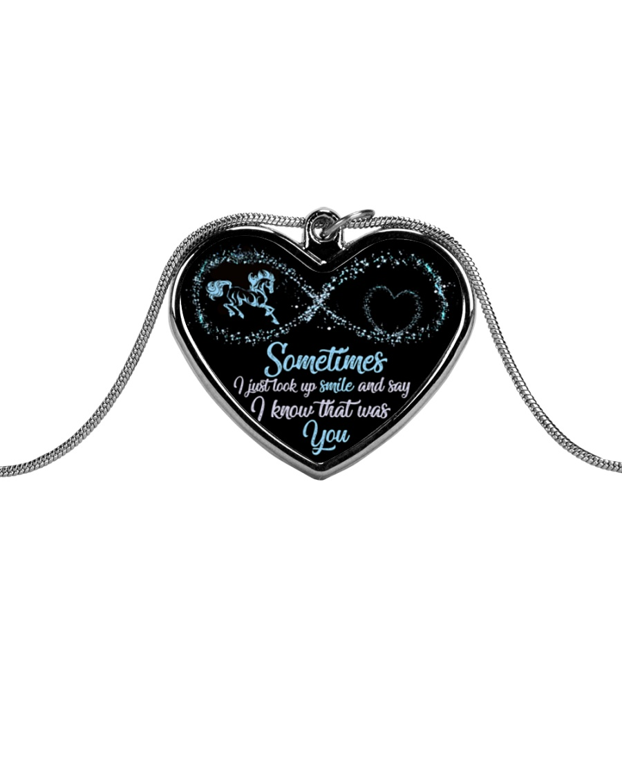 Sometimes I Just Look Up Smile Metallic Heart Necklace