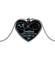 Sometimes I Just Look Up Smile Metallic Heart Necklace front