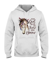 This Girl Runs On Jesus And Horses Hooded Sweatshirt front
