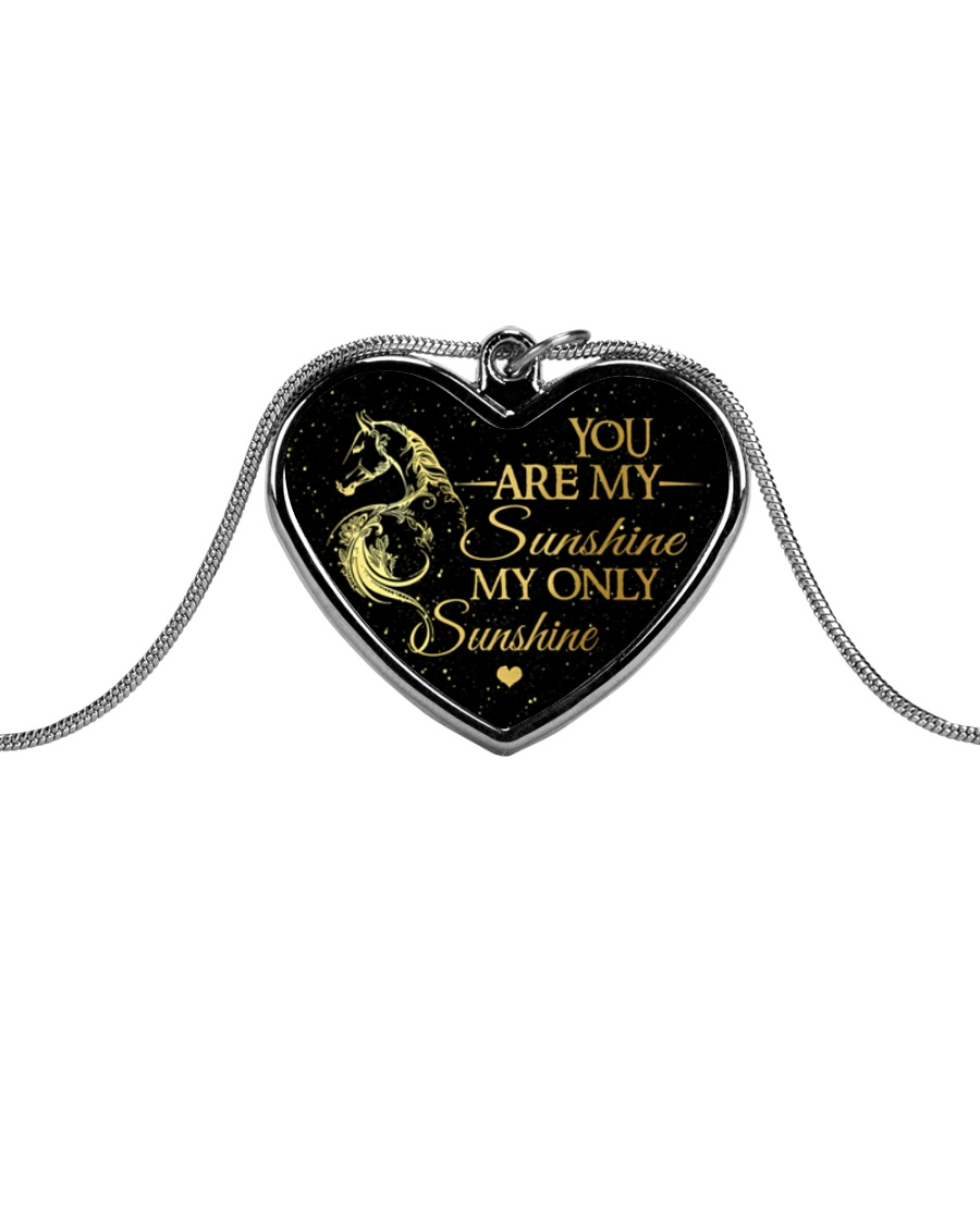 You Are My Sunshine Metallic Heart Necklace