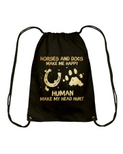 Horses And Dogs Make Me Happy Drawstring Bag tile