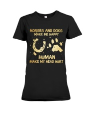 Horses And Dogs Make Me Happy Premium Fit Ladies Tee thumbnail