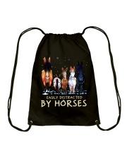 Easily Distracted By Horses Drawstring Bag thumbnail