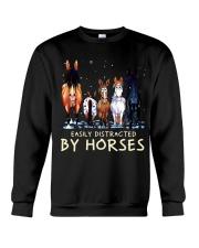 Easily Distracted By Horses Crewneck Sweatshirt thumbnail