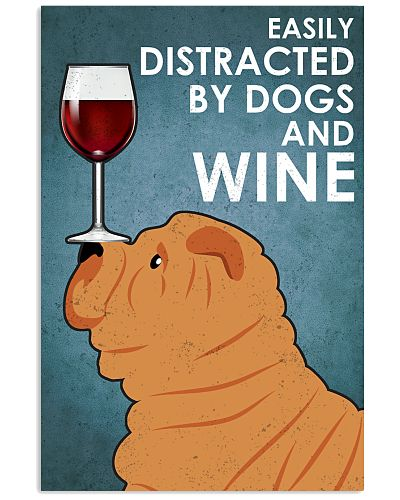 Dog Sharpei And Wine