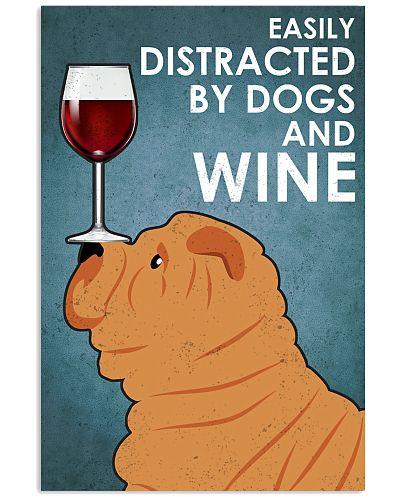 Dog Sharpei And Wine
