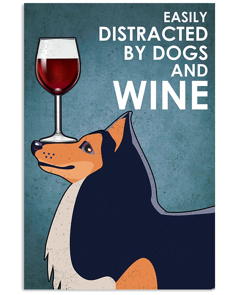 Dog Shetland Sheepdog And Wine 16x24 Poster