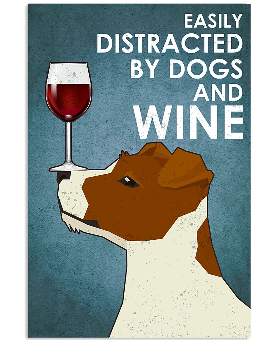 Dogs Jack Russell And Wine 16x24 Poster