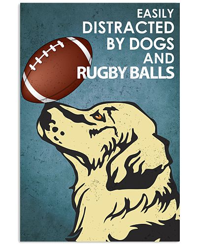 Dog Golden And Rugby Balls