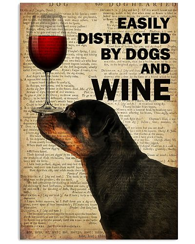Dog Rottweilerr And Wine